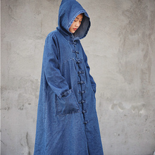 1e5e869fd2 ORIGOODS Blue Denim Hooded Long Coat Women Spring Autumn Winter Vintage  Trench Coat Long Outwear Women