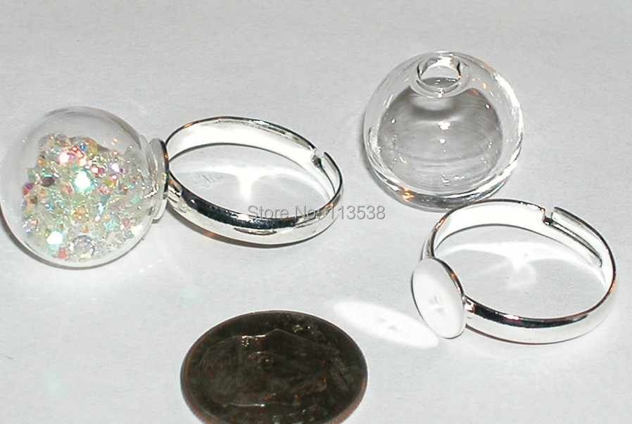 Freeshipping 30sets 16mm 4mm open Small Clear Glass Globe Bottle Ring with Silver Plated Ring tray, diy glass bowl, glass global