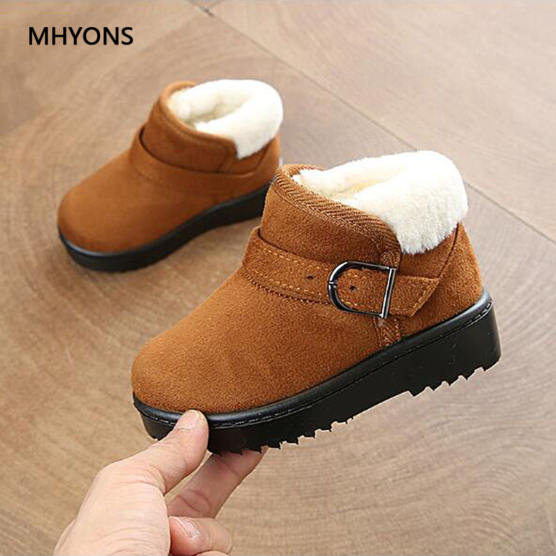MHYONS 2019 New Kids Snow Boots For Children Boys Winter Warm Children Shoes Non-slip Flat Round Toe Girls Baby Lovely Boots
