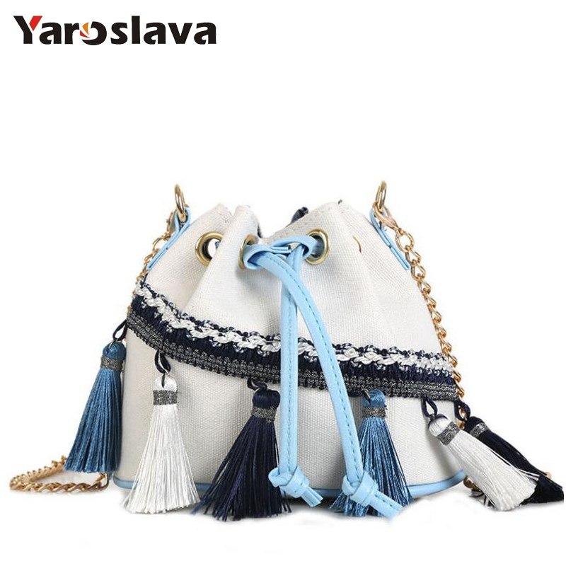 Fashion Women Canvas Shoulder Bag Ladies Bucket Bags Handbags Mini Casual S tring Tote Bag National Wind Tassel Sac A Main LL597