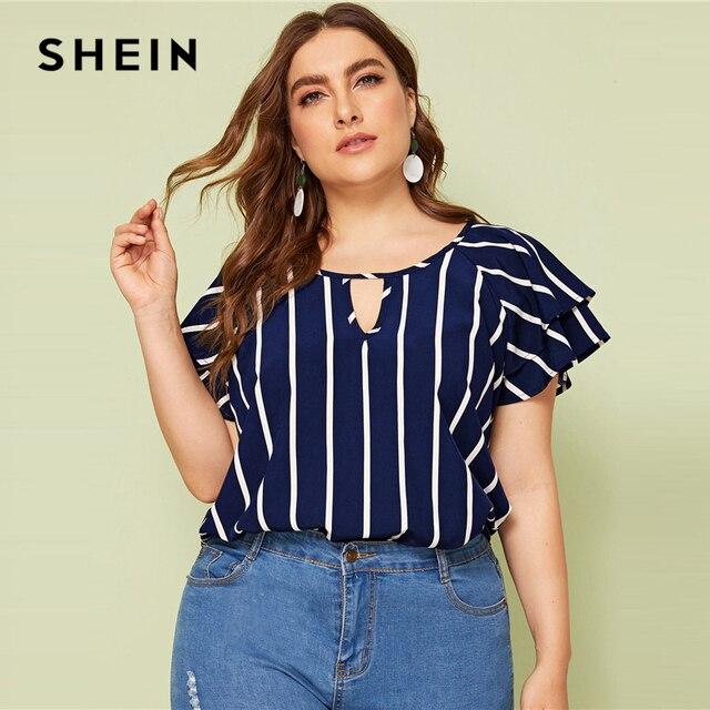 SHEIN Plus Size White Striped V Cut Front Layered Flutter Raglan Sleeve Top Women Summer Elegant Cut Out Butterfly Sleeve Shirt 4