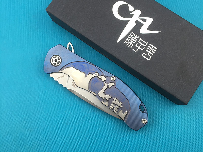 CH3504 Flipper S35VN blade folding knife ceramic ball bearing washer TC4 titanium alloy handle outdoor camping fruit knife EDC in Knives from Tools