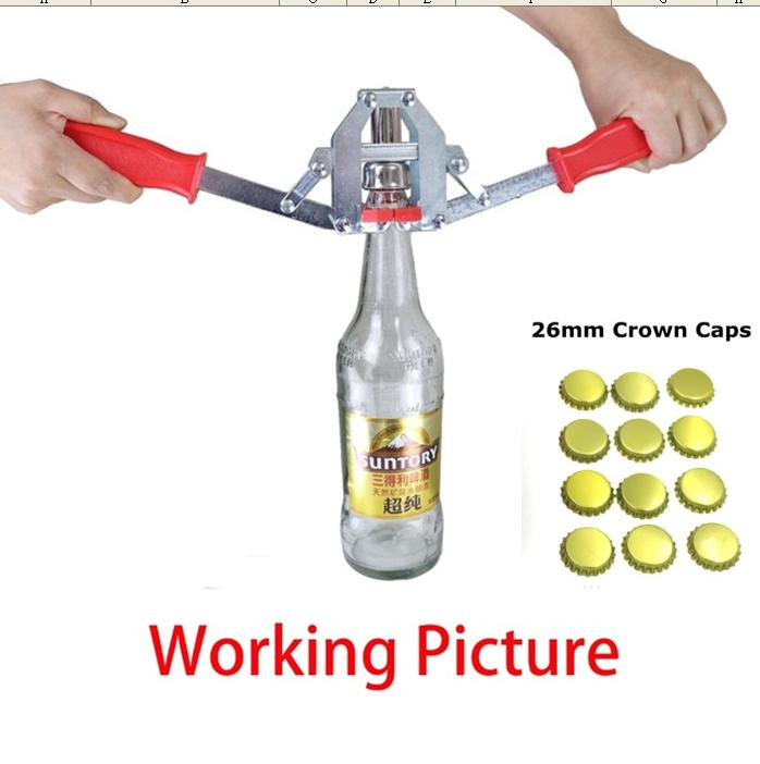 Premium Quality Manual Beer Bottle Capper For 26mm Crown Caps Homebrew Beer Capper + 12pcs 26mm Crown Caps