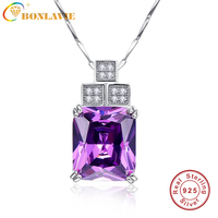 Fashion Accesorios Mujer Gift Jewelry Trendy Silver Necklace Chain Designs 16 60Ct Amethyst Natural Stone Pendant