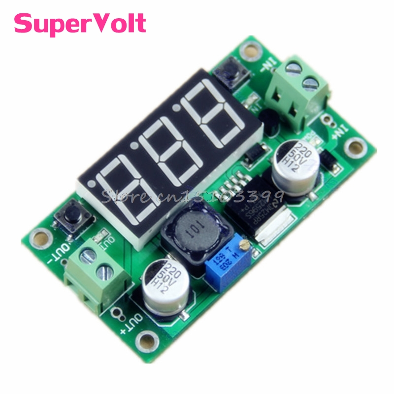 DC-DC LM2596 Voltage Regulator + Led Voltmeter Buck Step Down Converter Module G08 Drop ship