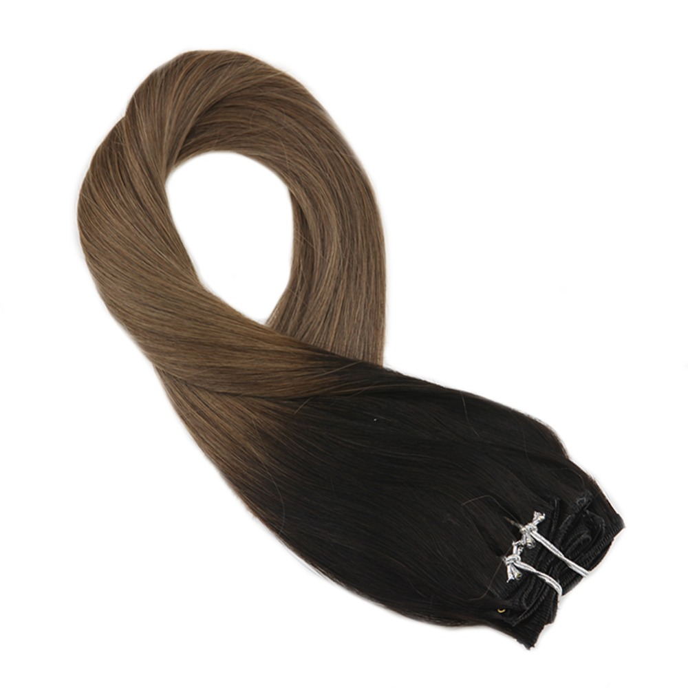 Moresoo Ombre Color Black Fading To Brown Remy Clip In Human Hair Extension Thick Double Weft Full Head Hair Extension 7Pcs 100g