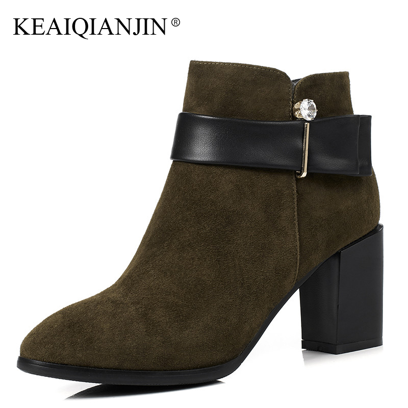 KEAIQIANJIN Woman Crystal Martins Boots Autumn Winter Plus Size 33 - 44 High Heel Boots Genuine Leather Pointed Toe Ankle Boots oversize autumn winter men s tapered jeans trousers denim harem pant plus size 40 42 44 46 48