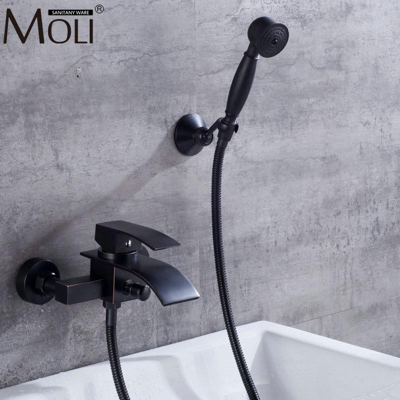 Wall Mounted Bathtub Faucet With Hand Shower Bath Shower Faucet Set Oil Rubble Bronze Finished Waterfall