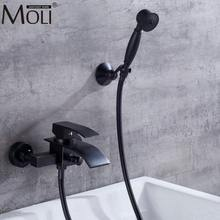 Wall Mounted Bathtub Faucet With Hand Shower Bath Shower Faucet Set Oil Rubble Bronze Finished Waterfall Black Bath Faucet