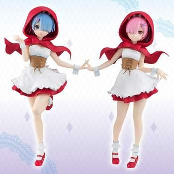22 см японского аниме Рисунок Re: жизнь в другом мире от нуля Ram/Rem красная шляпа фигурку Коллекционная модель игрушки для мальчиков