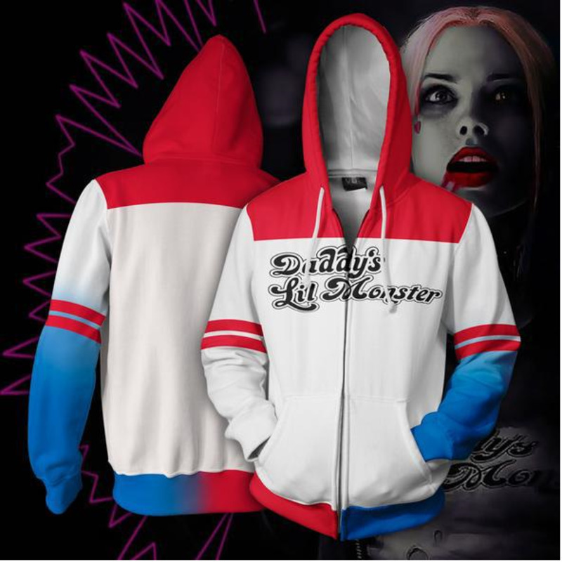 Marvel Suicide Squad Harleen Quinzel Haley Quinn Cosplay Anime 3D Hoodie Printed Zipper Sweater Costume Adult Halloween Costumes