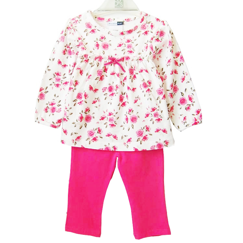2017 Spring Baby Girl Floral Clothing Set Infant Casual T-shirt + Leggings Newborn Bebe Cotton Suits Clothes for Girls baseus hermit bracket case for iphone7 plus 5 5inch pink