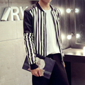HOT 2015 autumn and winter slim short stand collar stripe leather jacket men's clothing motorcycle leather jackets coat costumes