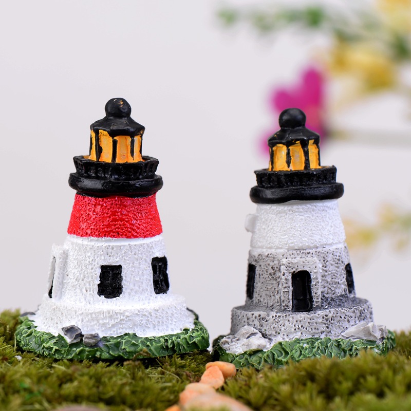 2 PCS Mini Lighthouse Figurines Mini Resin Crafts Fairy Garden Miniatures DIY Terrarium/ Succulents/ Micro Landscape Decoration