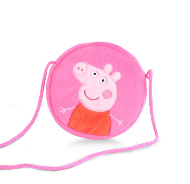 1pcs 16CM Genuine plush pig bag Pink Peppa Pig George Backpack hot sale Animal satchel For Children's haversack 1