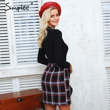 Simplee Elegant front zipper tweed winter skirt Women 2018 fashion multi plaid cute skirt for ladies Autumn lining mini skirt
