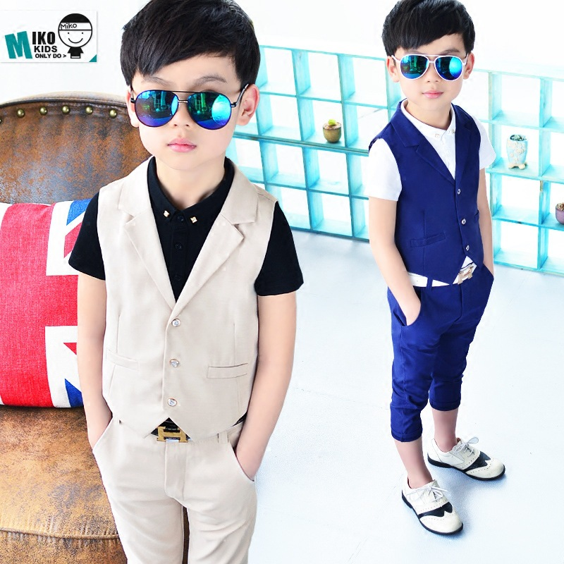 f2bdcdeedc016 2018 New Children Suit Baby Boys Suits Kids Blazer Boys Formal Suit For Weddings  Boys Clothes Set Kids Vest+Pants 2pcs 3-10Y