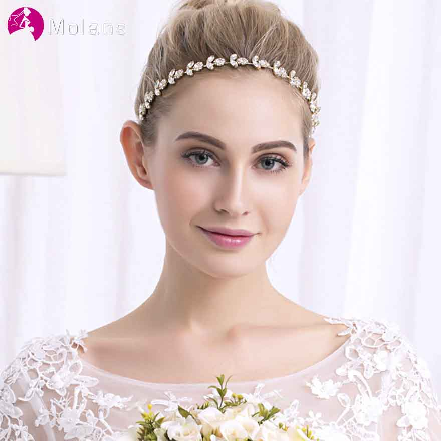 MOLANS European Simple Crystal Sunflower Hairband for Bride Wedding Accessories Temperament Diamond Alloy with Ribbons Headpiece