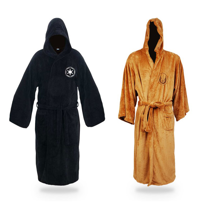 New Men Winter Kimono Bathrobe Star Wars Dressing Gown Flannel Robes Jedi Empire Male Bath Robe Casual Sleepwear M L