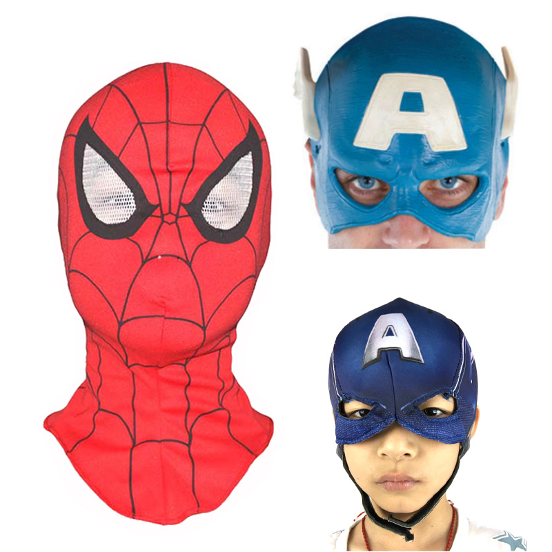 Children Adult Spiderman Captain America Masks Movie Cosplay Costume Props Halloween Superhero Latex Cloth Mask Head Hood