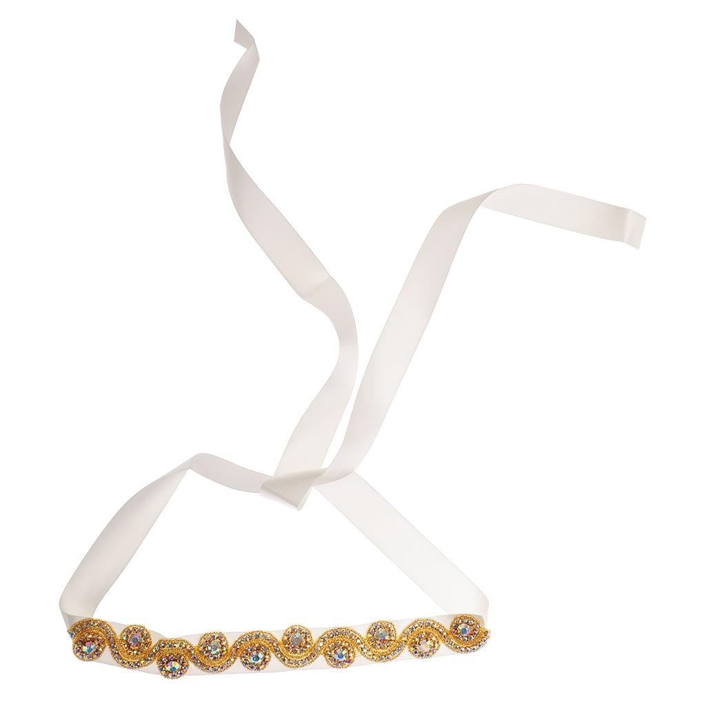 Wholesale Wedding Dress Sash Belt Ribbon Bridal Belt Gold Beaded Crystal