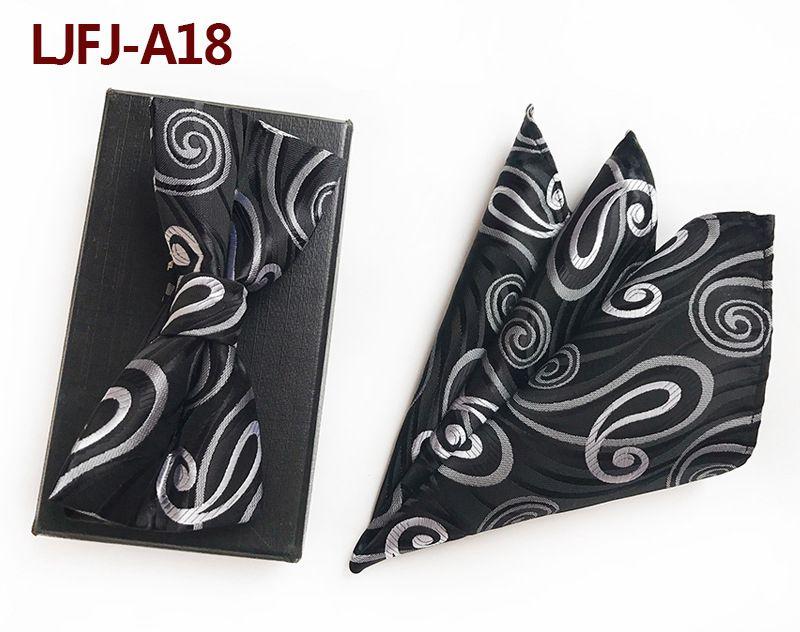 Мужской модный галстук набор полиэфирных шелковых галстуков наборы из двух частей жаккардовые галстуки для мужчин галстук носовой платок галстук-бабочка - Цвет: LJFJ-A18