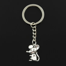 New Fashion Keychain 24x18mm mouse Pendants DIY Men Jewelry Car Key Chain Ring Holder Souvenir For Gift(China)