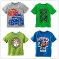 Vidmid meninos t-shirt da roupa do bebê menino verão t shirts t-shirt de algodão dos desenhos animados caminhão tarja roupas de manga curta crianças