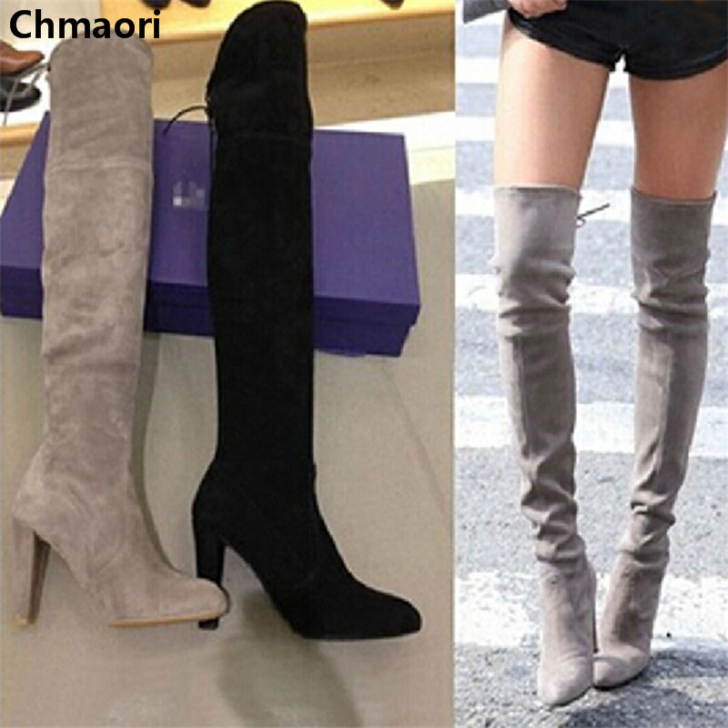 new fashion suede leather over the knee lace up thigh high boots square heel stretch motorcycle boots
