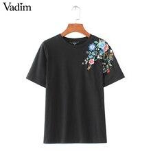 women sweet flower embroidery T shirt short