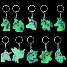 10pcs Silicone Luminous Unicorn Keychain Glow in the dark Charm Keychains Supplies Jewelry Key Holder Alloy KeyRing