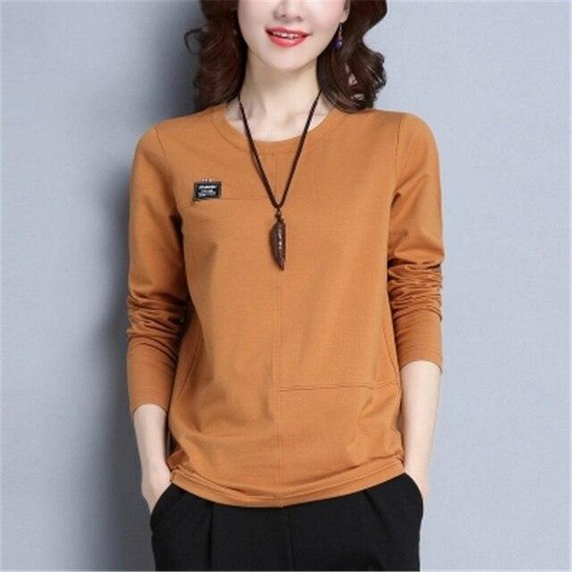 Nouveau mode haut pour femme 2017 automne hiver T-shirts coréen décontracté femmes t-shirt grande taille o-cou lâche coton femmes p026