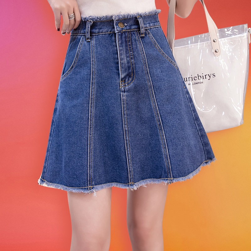 Mini Denim Skirt Women Short Cotton High Waist A Line Skirts Plus Size Jean Skirt Mini Denim Skirts Saia Jeans Summer 2019