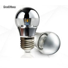 110-220V decorative shadeless E27/E14 LED 3W 5W 7W base light mirror bulb G45 A60 half silver led filament bulb