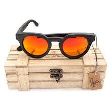 BOBO BIRD Womens Men Black Cat Eye Wood Sunglasses UV Polarized Coating Bamboo wooden glasses  fashionable eyewear in Box