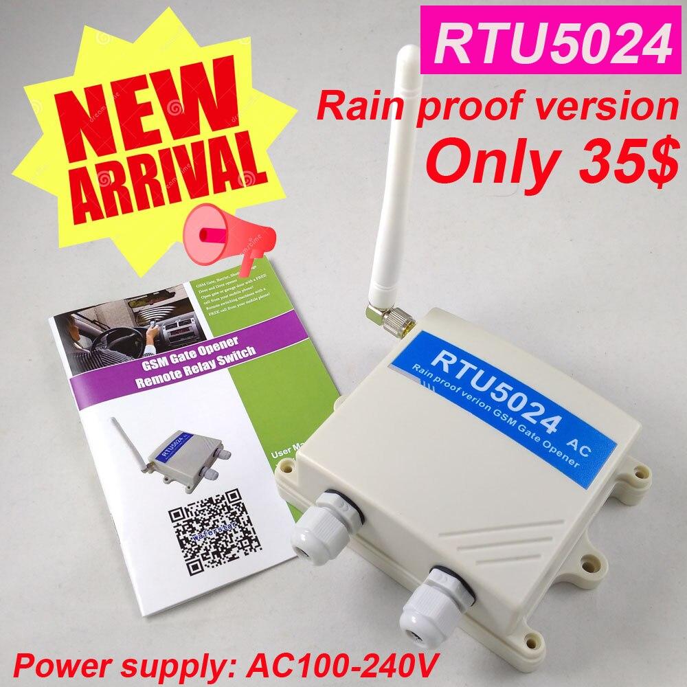 Livraison gratuite Pluie Preuve ver RTU5024 GSM Ouvreur de Porte Relais Commutateur de Contrôle D'accès À Distance Sans Fil portail Coulissant Ouvre App soutien