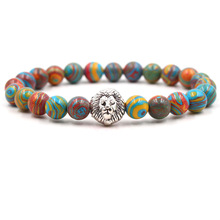 Fashion Trendy Natural Stone Bracelet For Women And Men Malachite Lion Head Elastic Sliver Jewelry Dropshipping