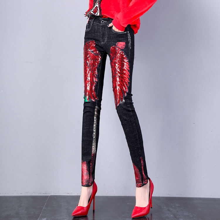 Ultra Nuevos Rojas Vaqueros Mujer Ajustados Para De Otoño 2018 Estudiantes Black Alas Con Mezclilla Lentejuelas Moda Pantalones L 7q8dxwR8EZ