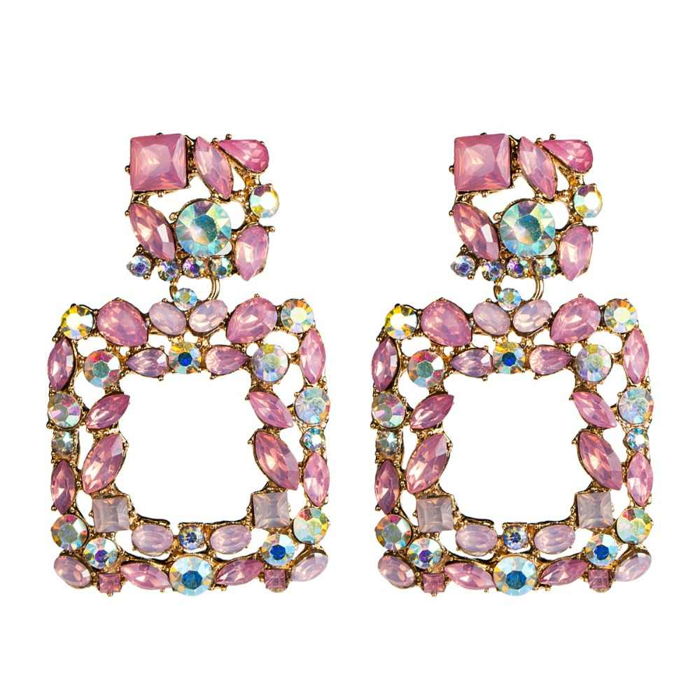 2019 women earring square rhinestone big earrings woman trendy luxury black pink earings fashion jewellery accessory