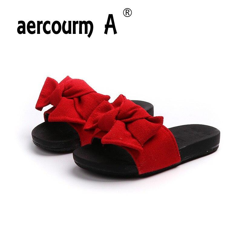 eb310596b066 Aercourm A 2018 Girls Slippers New Summer Children Bow-knot Sandals Girls  Red Beach Shoes Sandals Slippers Children Flip Flops