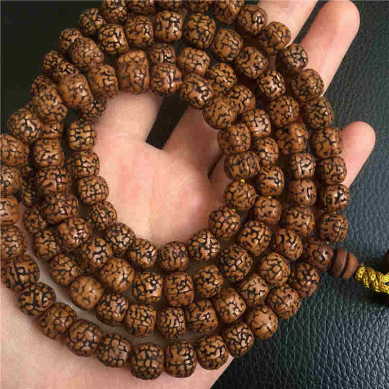 BRO576 Nepal Old Oiled Rudraksha Bodhi Seeds Beads Tibetan 108PCS MeditationPrayer Mala for Man