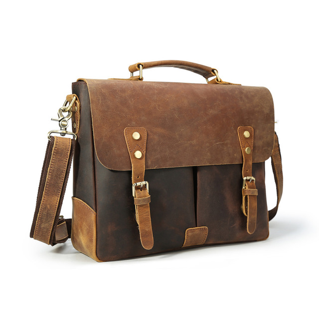 b2cd35082 TIDING Vintage Real Leather Bags 14 inch Laptop Retro Style Cross Body  Messenger Bag Shoulder Satchel 1462