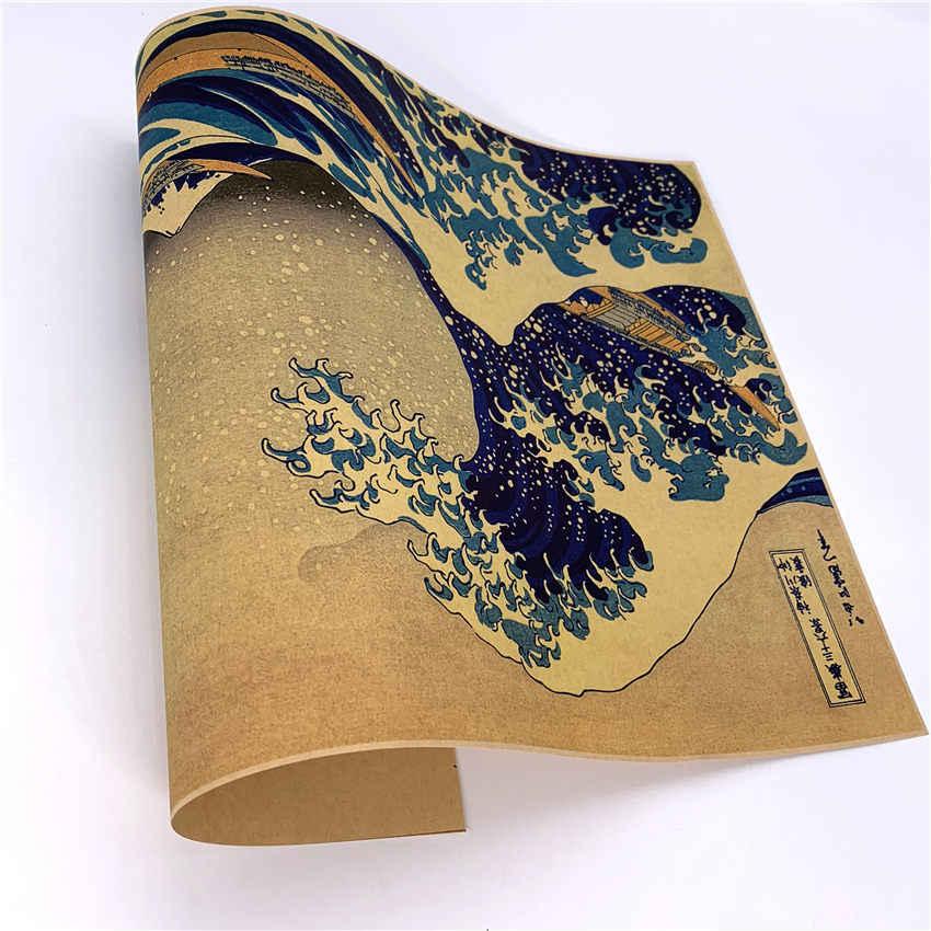 Jepang Kanagawa Surfing Vintage Kraft Kertas Poster Kertas Kerajinan Retro Dinding Stiker Dinding Gambar untuk Ruang Tamu 42X30 CM GGB016