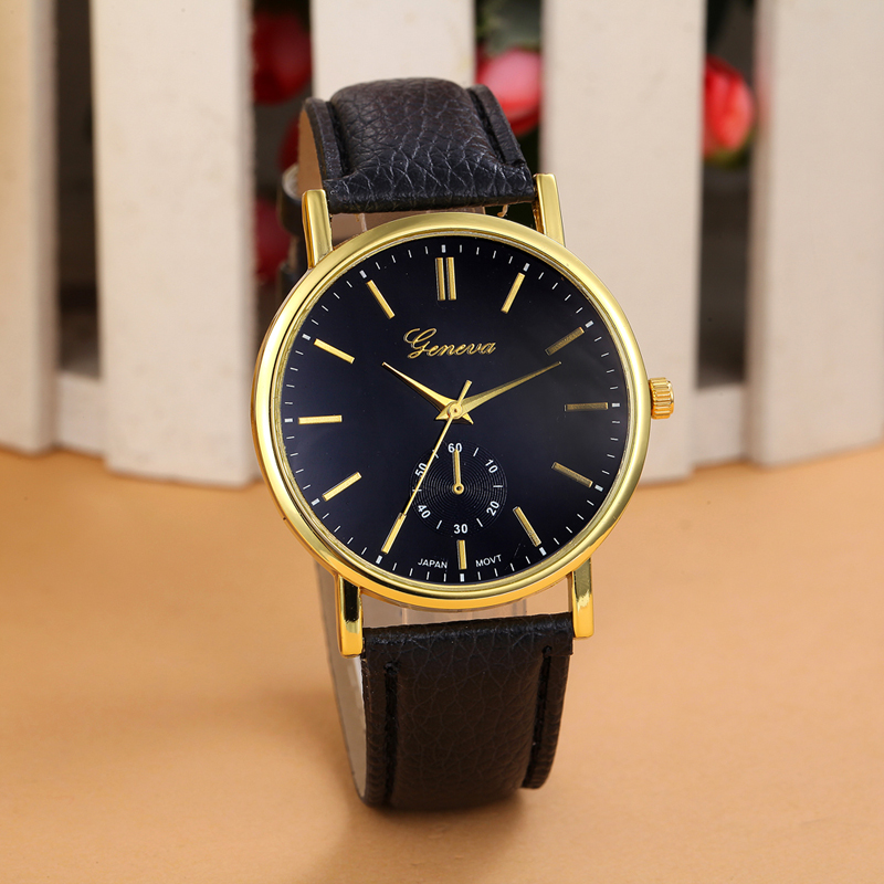 Druable New Unisex Lovers Faux Leather Band Analog WristWatch Quartz Watches