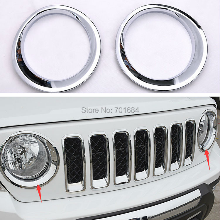 GUANG-E ABS Chrome Front Headlight Lamp Cover Molding Trim For Jeep Patriot 2011 2012 2013 2014 2015 2016 [QP1018]