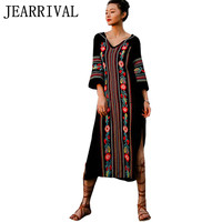 Summer Dress 2016 New Fashion Women Vintage Ethnic Style Flower Embroidery Split Long Maxi Dress V