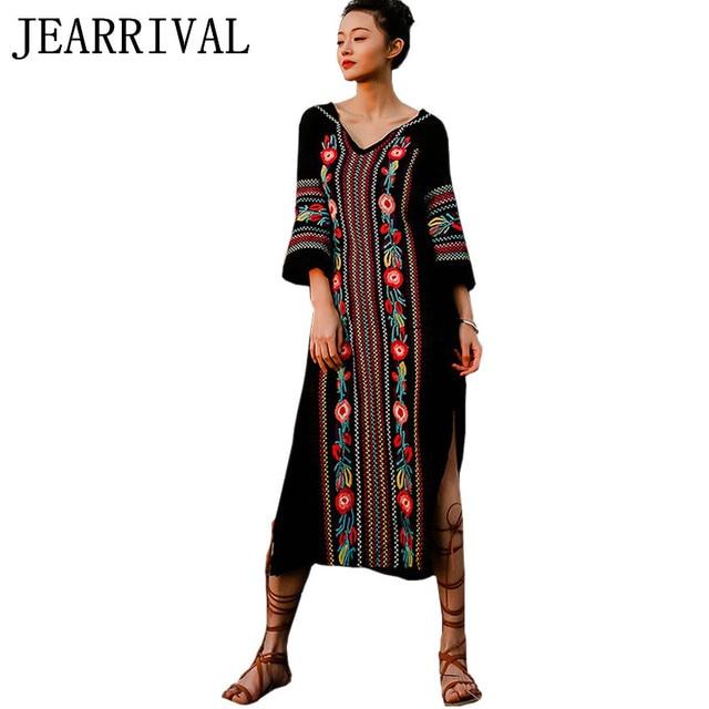 Summer Dress 2018 New Spring Fashion Women Vintage Ethnic Style Embroidery  Split Long Maxi Dress V-Neck Beach Dress Vestidos 97a4a9b92d50