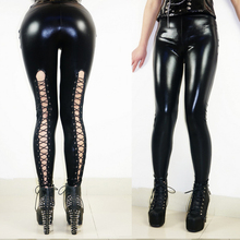 New Fashion Women Faux Leather Slim Strench Bodycon Leggings Thin Black Bottoms Lace-up Back Sexy Pants Pencil