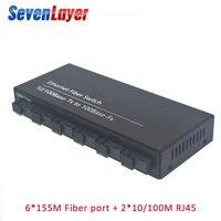 Hızlı Ethernet anahtarı Dönüştürücü 20KM Ethernet Fiber optik medya dönüştürücü Tek Modlu 2 RJ45 ve 6 SC fiber Portu 10/100M