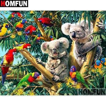 "HOMFUN taladro cuadrado/redondo completo 5D DIY pintura de diamante ""Animal loro koala"" bordado punto de cruz 3D decoración del hogar regalo A16916"